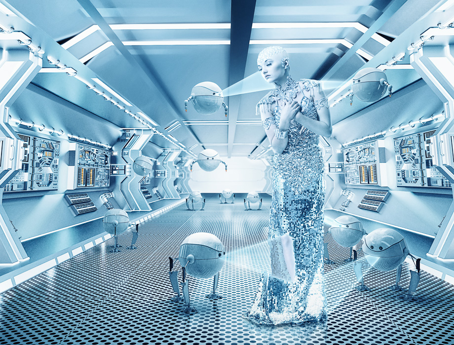 Spacegirl with robots-10