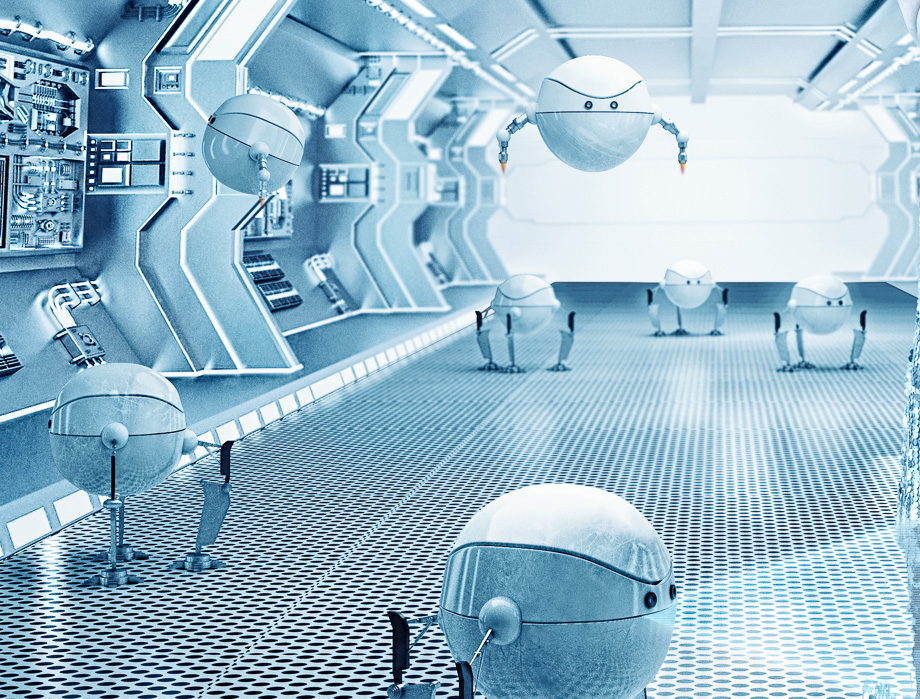 Spacegirl with robots-9